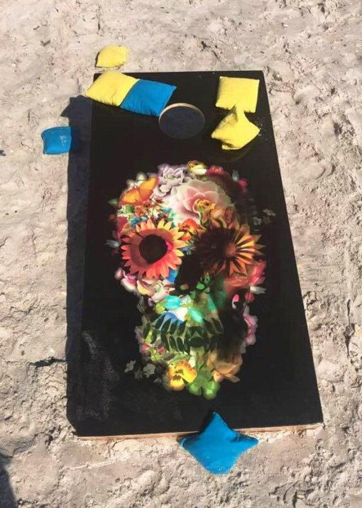 "Colorful Floral Sugar Skull on Black Background Corn Hole Board Beacn Bag Toss Vinyl Wrap Decal (25""x49"") - Digital File: EPS/JPG"