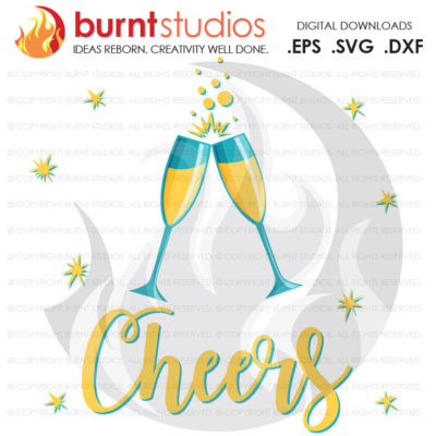 Digital File, Cheers, Champagne Glasses Flute, Happy New Year, 2017, New Years, Shirt Design, Decal, Cutting File Svg, Png, Dxf,