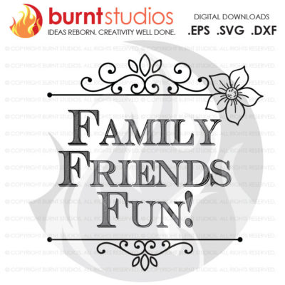 Digital File, Family Friends & Fun, Thankful, Blessed, Thanksgiving, Turkey, Blessing, Shirt, Decal Design, Svg, Png, Dxf, Eps file