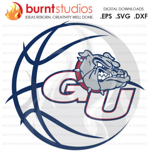 Digital File, Gonzaga Logo with basketball, Gonzaga Basketball, Gonzaga Bulldogs, NCAA, Gonzaga Bulldogs Basketball, Svg, Png, Dxf, Eps file