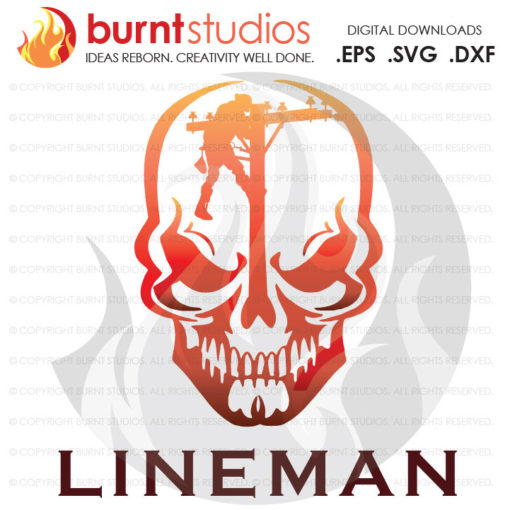 Digital File, Lineman, Linemen, Power, Climbing Hooks, Spikes, Gaffs, Skull,  Shirt Design, Decal Design, Svg, Png, Dxf, Eps file