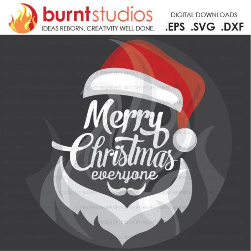 Digital File, Merry Christmas to You, Santa Face, Santa Clause, Xmas, Shirt Design, Decal Design, Svg, Pn