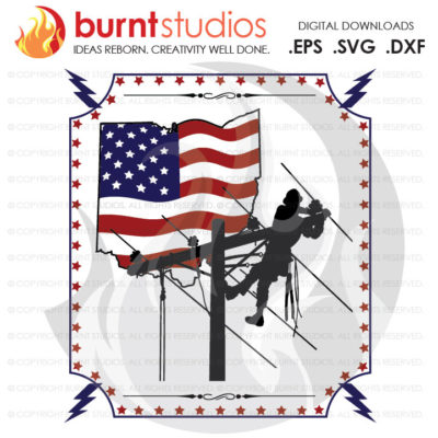Digital File, Ohio, Lineman, USA, America, Linemen, Power, Climbing Hooks, Spikes, Gaffs, Design, Decal Design, Svg, Png, Dxf, Eps file