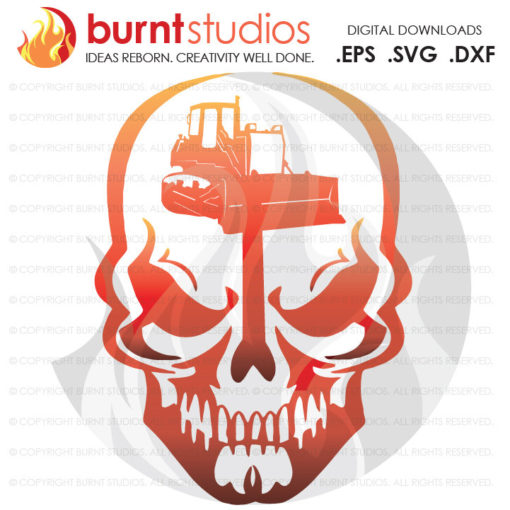 Digital File, Skull, Construction Worker, Bulldozer, Tractor, Bob Cat, Construction, Excavator, Digger, Worker, Digging, Grading, SVG File