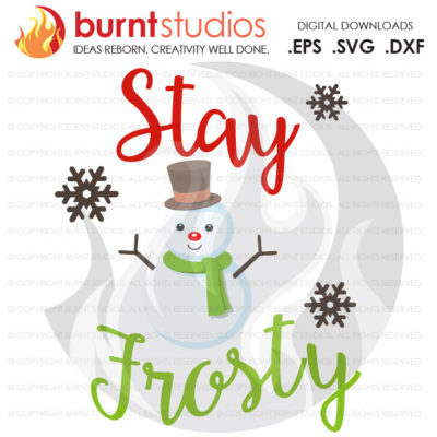 Digital File, Stay Frosty, Snowman, Funny, Christmas, Winter, Cold, Cute, Holiday, Shirt Design, Decal Design, Svg, Png, Dxf, Eps file