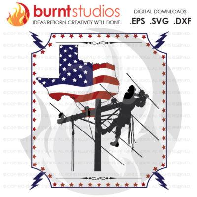 Digital File, Texas, Lineman, USA, America, Linemen, Power, Climbing Hooks, Spikes, Gaffs, Design, Decal Design, Svg, Png, Dxf, Eps file