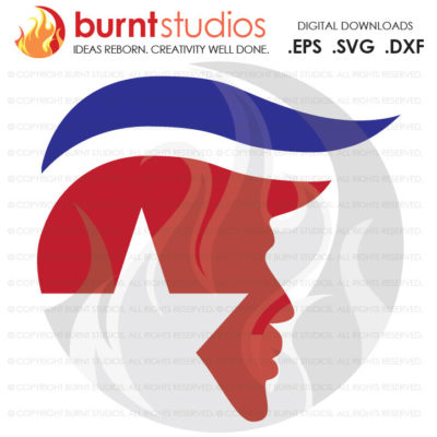 Digital File, Trump Silhouette Toupee Star, USA, President, America, Funny Political Trump Mexico, Decal Design, Svg, Png, Dxf, Eps file