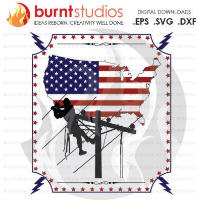 Digital File, USA United States of America Lineman, Linemen, Power, Climbing Hooks, Spikes, Gaffs,  Shirt, Decal Design, Svg, Png, Dxf