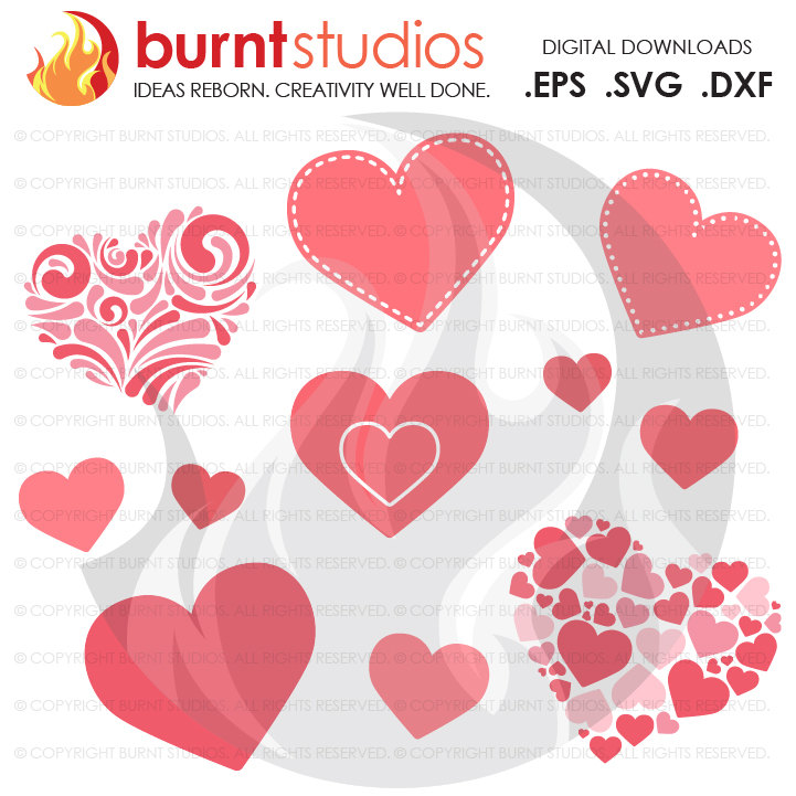 Digital File, Valentine's Day, Hearts Bundle Package, Heart, Love, February 14, Design, Decal, Cutting File Svg, Png