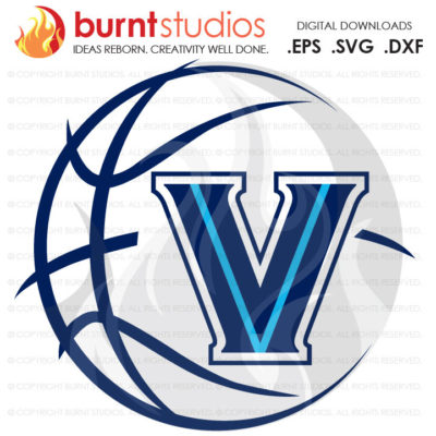 Digital File, Villanova Logo with Basketball, NCAA, Villanova Wildcats, Villanova University, Svg, Png, Dxf, Eps file