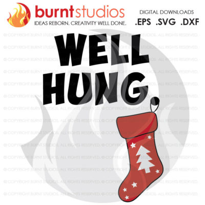 Digital File, Well Hung Stocking, Christmas, Funny, Stars, Christmas Tree,  Holiday, Xmas, Shirt Design, Decal, Svg, Png, Dxf, Eps file