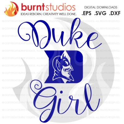 SVG Cutting File, Duke Girl, Duke University Blue Devils Logo Basketball, Svg, Png, Dxf, Eps file