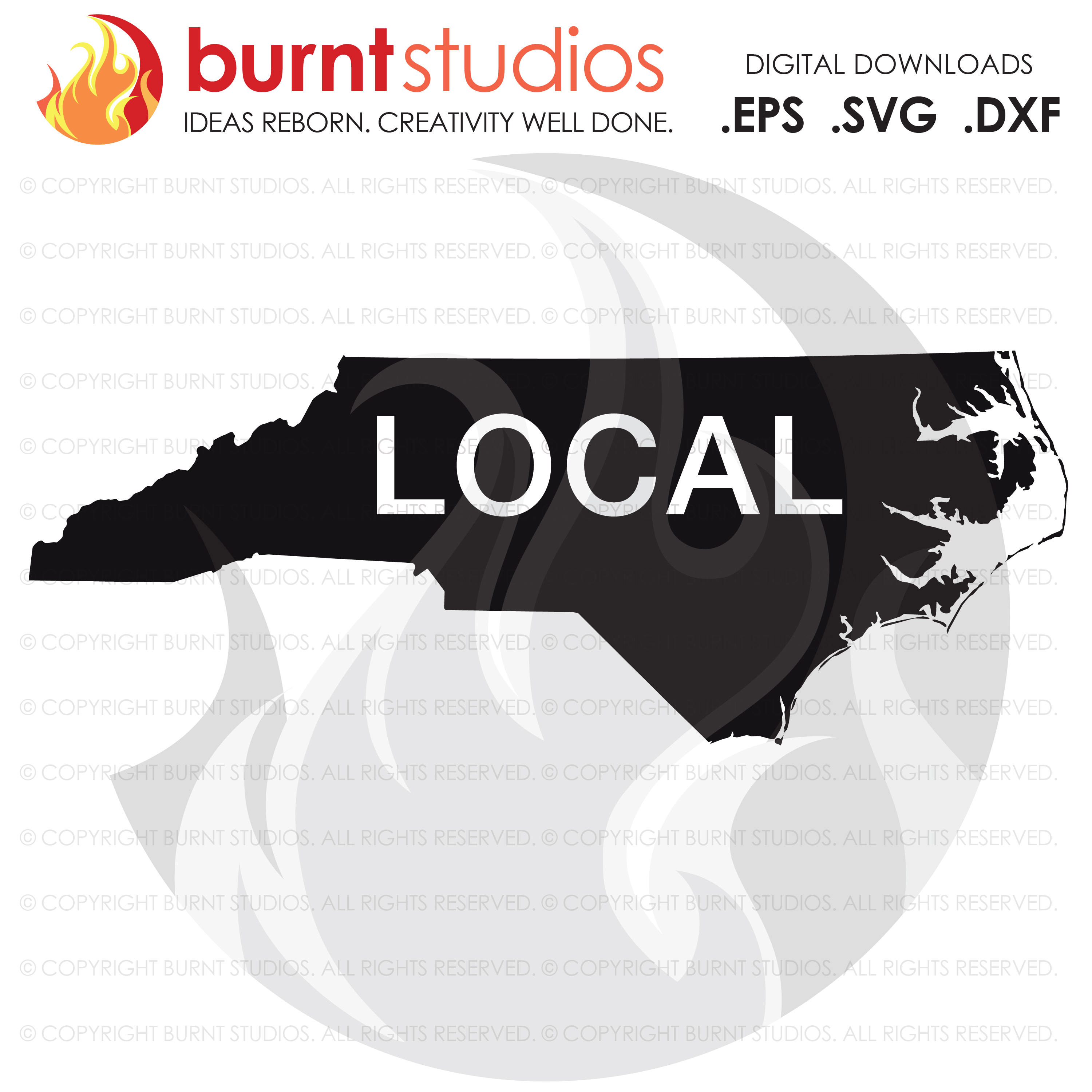 Digital SVG Cutting File,North Carolina State Outline, Local, Raleigh, Charlotte, Winston Salem, New Bern, Wilmington, Svg, Png, Dxf, Eps