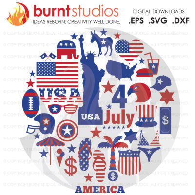 SVG Cutting File, USA, America, Memorial Day, Red White and Blue, Veterans, 4th of July, Merica, American Flag, Statue of Liberty, Eagle