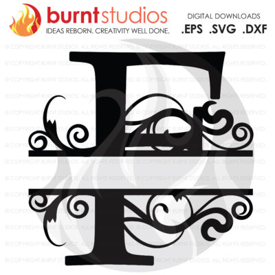 "Digital File, Decorative Letter ""F"", SVG Cutting File, Scroll, Initials, Alphabet, Letters, Svg, Png, Dxf, Eps file"