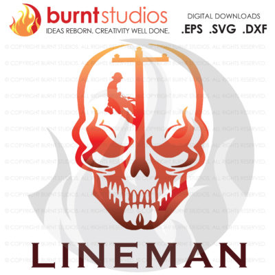 Digital File, Power Lineman, Linemen, Power, Climbing Hooks, Spikes, Gaffs, Skull, Shirt & Decal Design, Line Life, Svg, Png, Dxf, Eps