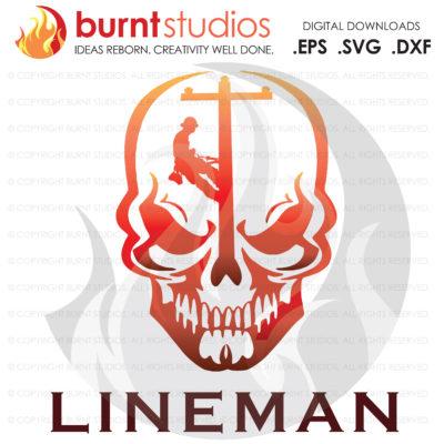 Digital File, Power Lineman, Linemen, Power, Climbing Hooks, Spikes, Gaffs, Skull, Shirt & Decal Design, Line Life, Svg, Png, Dxf, Eps