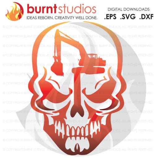 Digital File, Skull, Construction Worker, Track Hoe, Tractor, Bob Cat, Back Hoe, Excavator, Digger, Worker, Digging, Grading, SVG File