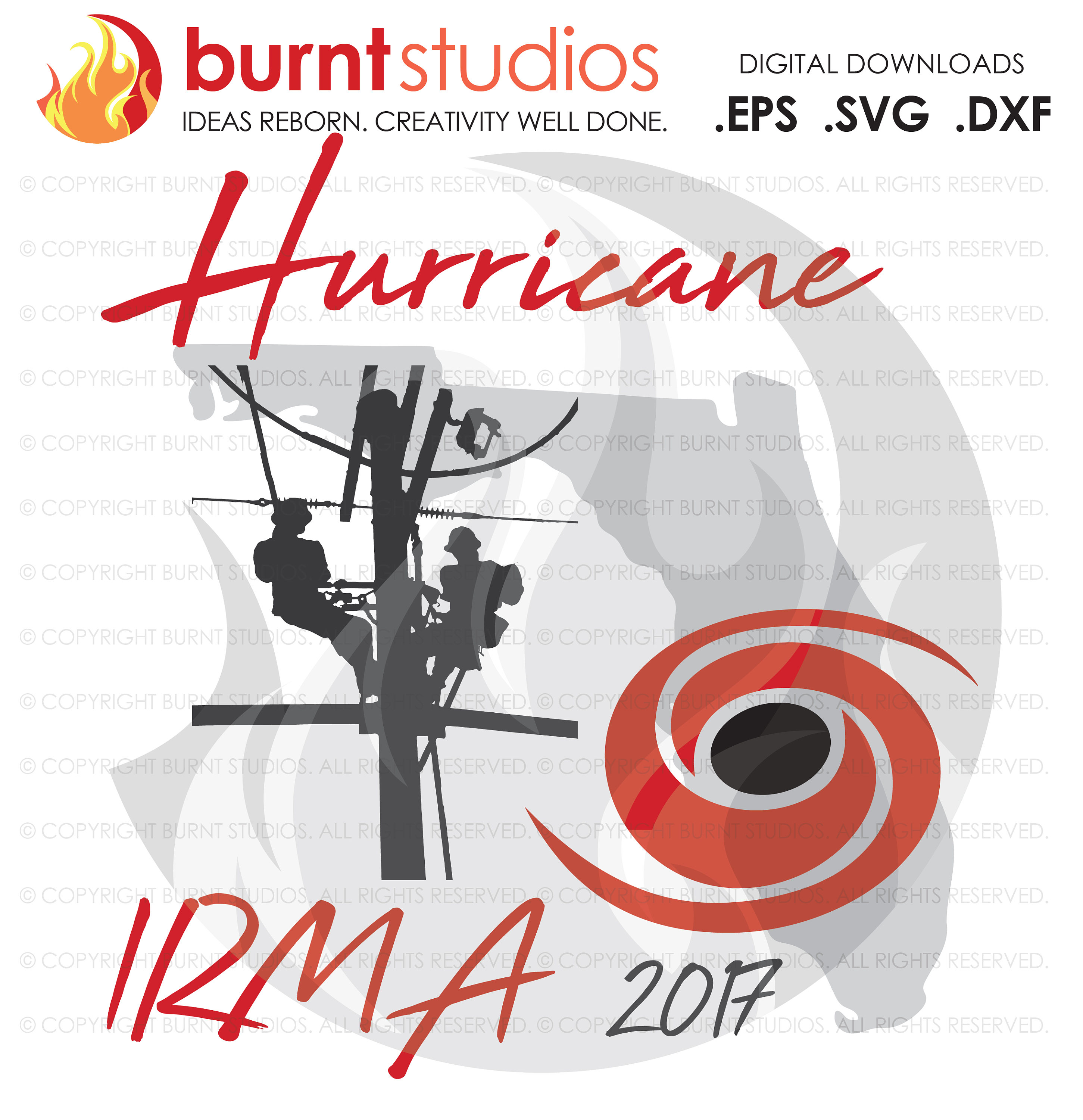 Hurricane Irma 2017, Florida, Power Lineman, Linemen, Line Crew, Climbing Hooks, Wood Walkers, Power, SVG, DXF
