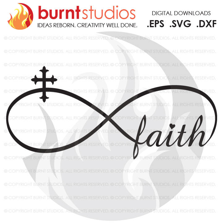 Digital File, Faith Infinity Loop Knot with Cross, Christian, God, Holy Spirit, Church, Jesus, Shirt, Decal Design, Svg, Png, Dxf, Eps file