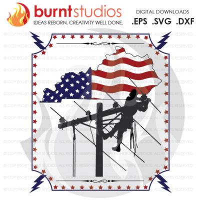 Digital File, Kentucky, Lineman, USA, America, Linemen, Power, Climbing Hooks, Spikes, Gaffs, Design, Decal Design, Svg, Png, Dxf, Eps file