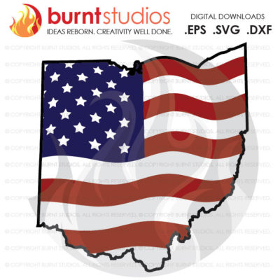 Digital File, Ohio, USA, America, American Flag, God Bless Ohio, God Bless the USA, Liberty, Freedom, Design, Svg, Png, Dxf, Eps file