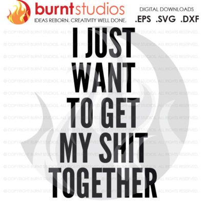 Digital File, I Just Want to Get My Shit Together, Motivational Quote, Inspirational, Inspiration, Be You, Design, Svg, Png, Dxf, Eps file