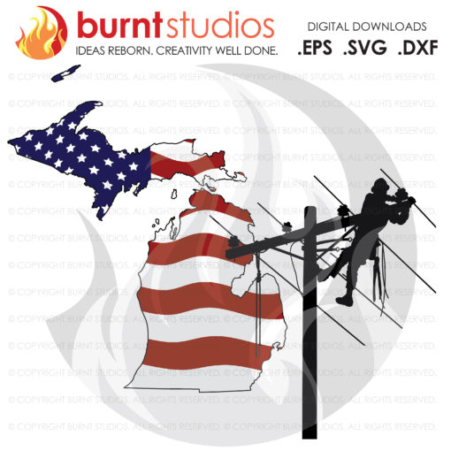 Digital File, Michigan, MI, Lineman, Linemen, Power, Climbing Hooks, Spikes, Gaffs,  Shirt Design, Decal Design, Svg, Png, Dxf, Eps file