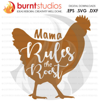 Mama Rules The Roost SVG Cutting File, Mama, Mom, Mommy, Mother, Blessed, Mother's Day, Heart, Love, Momma, Digital File, PNG, Chicken, Hen