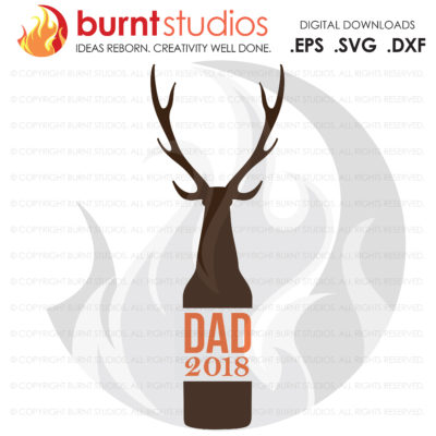 DAD Beer Bottle with Deer Antler SVG Cutting File, Happy Father's Day, Daddy, Poppa, Digital Download, Pop, Grandpa, Grandfather, File
