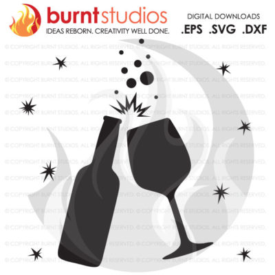 Digital File, Beer Bottle & Wine Glass Toast, Happy New Year, Celebration, Cheers, Celebrate, New Years, Toast, SVG Cutting File, Png, Dxf,