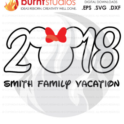 SVG Cutting File, 2018 Walt Disney World, Minnie Mouse, Magic Kingdom, Family Vacation Shirt Design, EPS, PNG, Digital Download, Customize