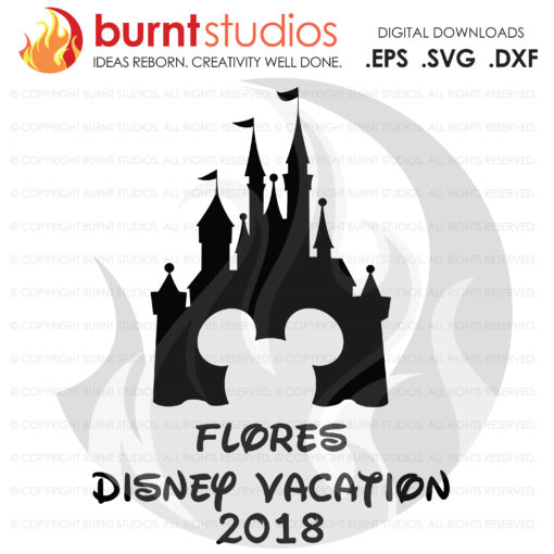 SVG Cutting File, Disney Castle Mickey Head, Customized Disney Vacation Digital File, EPS, SVG, Magic Kingdom, Walt Disney World, Minnie