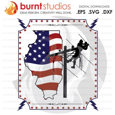 Lineman SVG Cutting File, Illinois Lineman, Linemen, USA, United States of American Power, Climbing Hooks, Spikes, Gaffs, png, eps, dxf