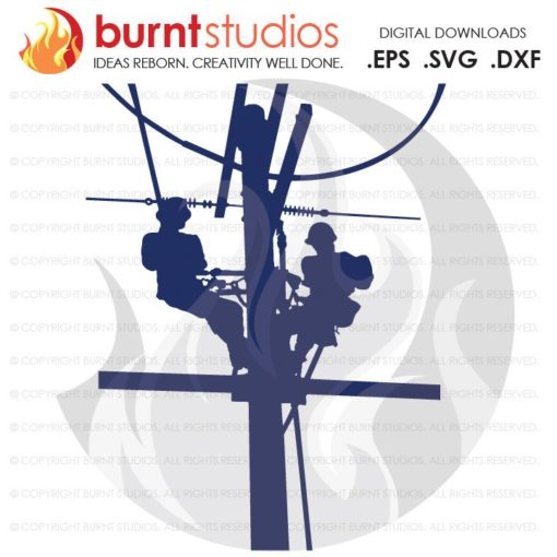 SVG Cutting File, 2 Linemen on a Pole, Lineman, Power, Climbing Hooks, Spikes, Gaffs, Skull, Journeyman, Woodwalker, Storm Chaser, PNG