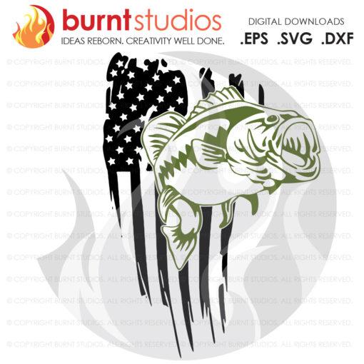 Digital File, USA Flag, United States of America, Bass, Bassmaster, Bass Fishing, Fish, Largemouth, Smallmouth Decal, Svg, Png, Dxf, Eps