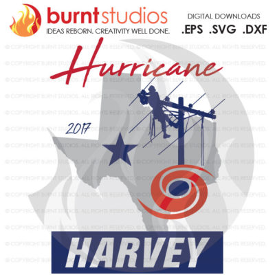 Hurricane Harvey Power Lineman SVG Cutting File, Texas, Stormchaser, Linemen, Line Crew, Climbing Hooks, Wood Walkers, Power, PNG