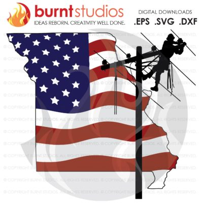 SVG Cutting File, Missouri, MS, Lineman, Linemen, Power, Climbing Hooks, Spikes, Gaffs,  USA, American, Storm Chaser, Wood Walker, Line Life