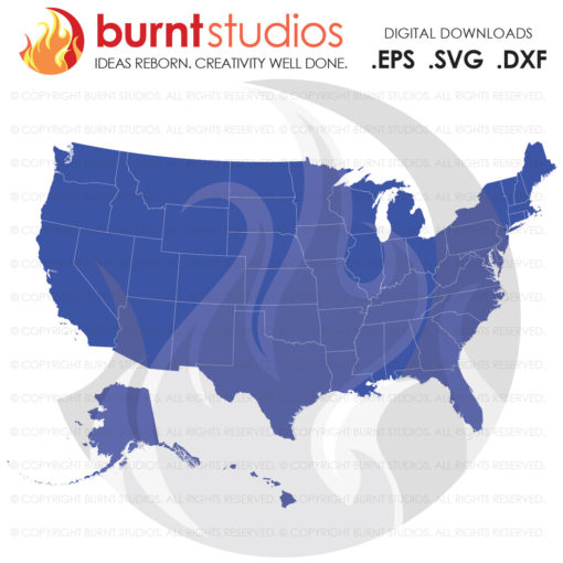 USA full Map SVG Cutting File, Digital Download, America, United States of America, Home of the Free, Home, Vector, State Outline