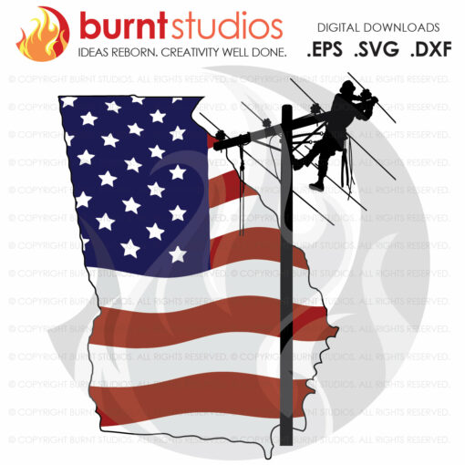 SVG Cutting File, Georgia, GA, lineman, Linemen, Power, Climbing Hooks, Spikes, Gaffs, USA, American, Storm Chaser, Wood Walker, Line Life