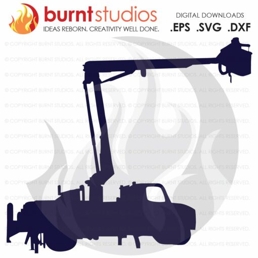 SVG Cutting File, Bucket Truck, Lineman, Linemen, Power, Climbing Hooks, Spikes, Gaffs, Skull,  Shirt Design, Decal Design, PNG, Dxf, Eps