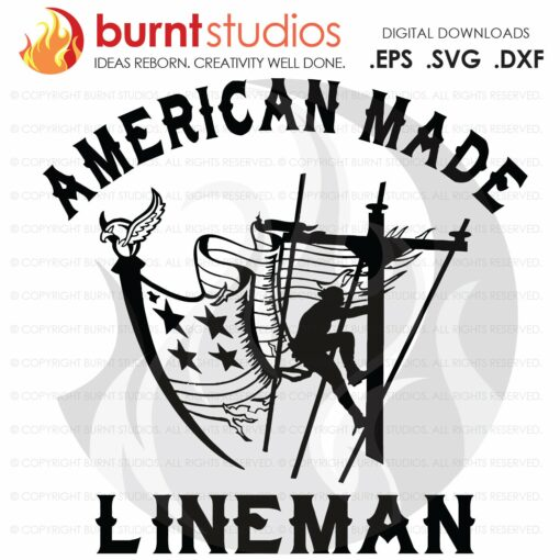 SVG Cutting File American Made Lineman, USA Flag, Linemen, Lineman, Power, Climbing Hooks, Spikes, Gaffs, Decal, Png, Dxf, Eps
