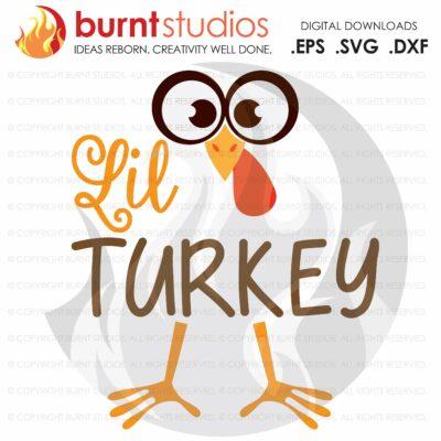 Lil' Turkey SVG Cutting File, Little Turkey, Thankful, Thanksgiving, Oh Snap, Wishbone, Turkey, Holiday, Shirt Design, Decal Design