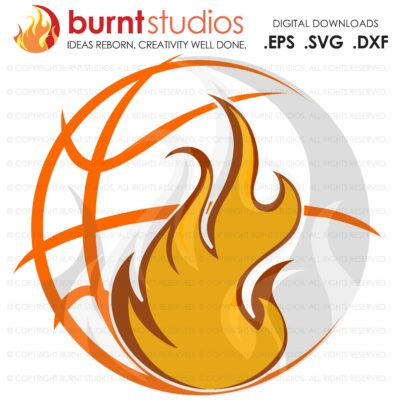 SVG Cutting File, Basketball with Flames, College Basketball, ACC Tournament, Duke Basketball, UNC Chapel Hill Basketball, Villanova