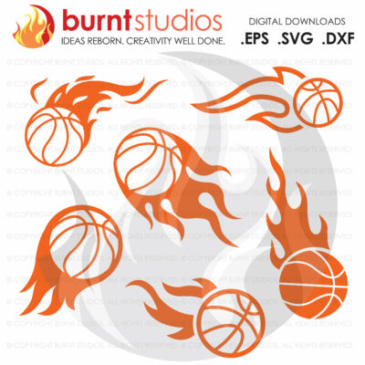 SVG Cutting File, Basketball with Flames Pack, College Basketball, ACC Tournament, Duke Basketball, UNC Chapel Hill Basketball, Villanova