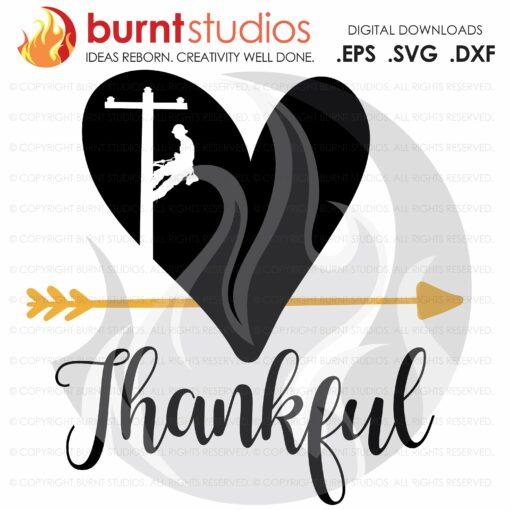 SVG Cutting File, Thankful Lineman, Power Lineman Thanksgiving, Heart and Arrow, Turkey, Holiday, Line Life, Line Love, Lineman Apparel