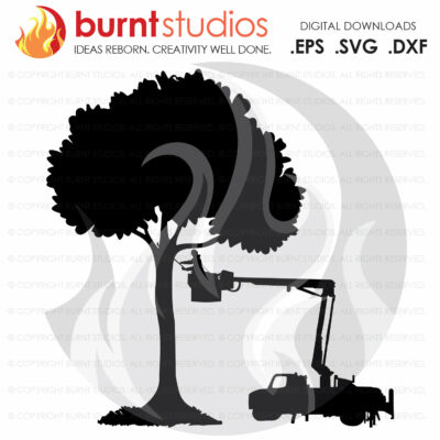 SVG Cutting File, Tree Trimmer and Bucket Truck, Arborist, Climbing Hooks, Spikes, Gaffs, Skull,  Shirt Design, Decal Design, PNG, Dxf, Eps