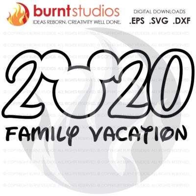 SVG Cutting File, 2020 Walt Disney World, Mickey Mouse, Magic Kingdom, Family Vacation Shirt Design, EPS, PNG, Digital Download, Customize