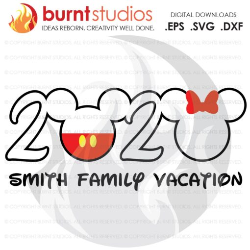 SVG Cutting File, 2020 Walt Disney World, Mickey Mouse with Pants, Minnie Mouse with Bow, Magic Kingdom, Family Vacation, Digital Download
