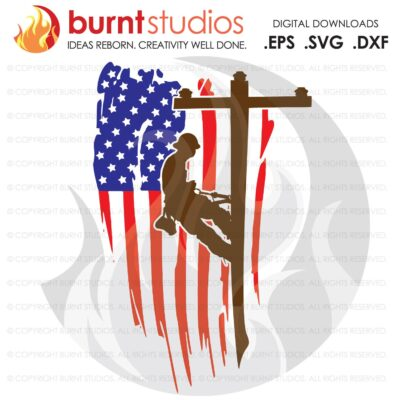 SVG Cutting File, Lineman & USA Flag Color, United States of America, Linemen, Lineman, Power, Climbing Hooks, Spikes, Gaffs, Decal, Svg